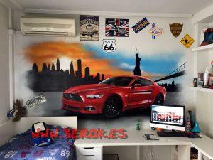 graffiti habitación coche mustang