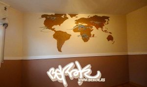 graffiti mapa mundo dinosaurios