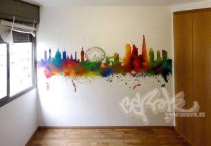 graffiti skyline londres color