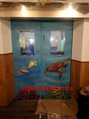 graffiti mural fondo marino tortuga