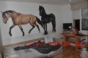 graffiti mural caballos habitacion