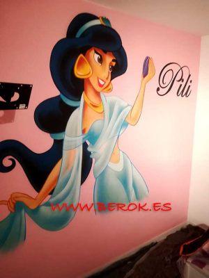 mural disney Jasmine graffitis