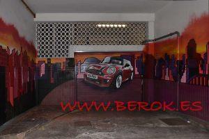 graffiti parking barcelona coche mini rojo