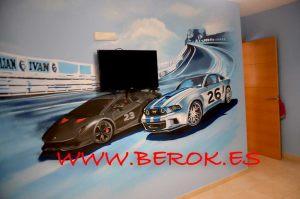 graffiti habitacion coches carreras