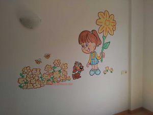 mural infantil perrito nena