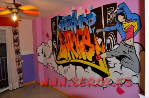 Graffitis musica 3d for Graffitis para habitaciones