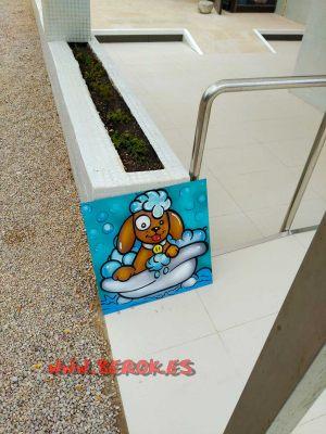 mural-infantil-cuadro-perrito-ducha