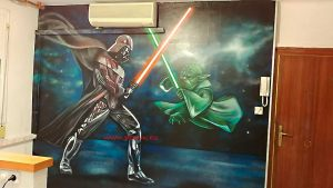 graffiti-pelea-darth-vader-vs-yoda