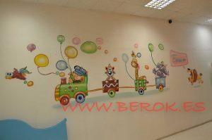 mural-infantil-tren-guarderia-ninets