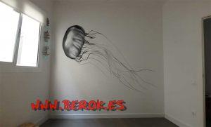 graffiti habitacion medusa blanco negro