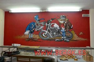 Decoracion-mural-bar-Joe-Bar-comic-con-animales