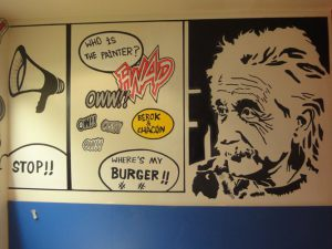 Decoracion-mural-Einsten-BIG-JS- DINNER-IN-BARCELONA