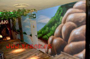 mural playa pasillo