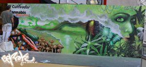 Decoracion-mural-stand-Spannabis-2015-para-Cannabis-Magazine