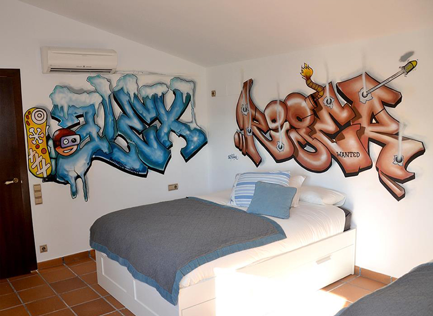 Graffitis 3d en cuartos for Graffitis para habitaciones