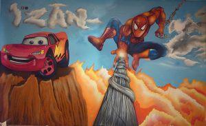 mural-infantil-spiderman-y-cars