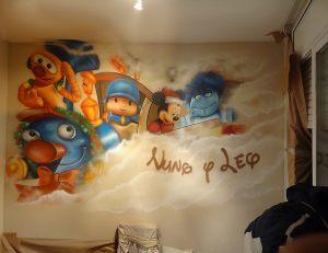 Mural-infantil-tren-pocoyo-Mickey