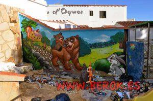 mural-infantil-osos-conejo-tambor