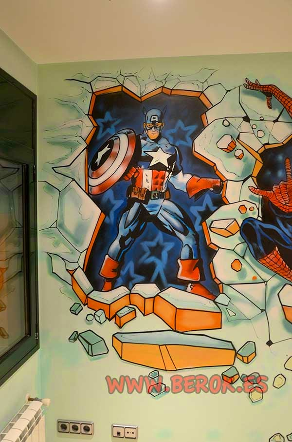 Berok graffiti profesional barcelona for Mural habitacion juvenil