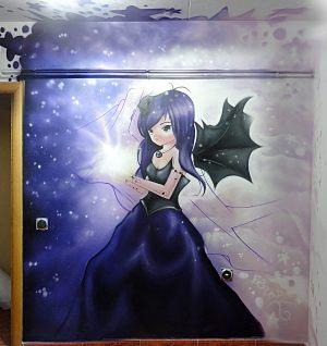 Dibujo-manga-en-pared