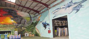 mural-fondo-marino-con-dinosaurio