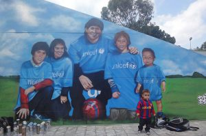 Graffiti-de-Lionel-Messi-en-hospital-Vall-Hebron