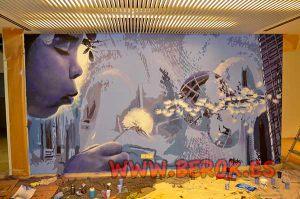decoracion-graffiti-mural-oficina-Nechi-Group-ingenieria-violetas