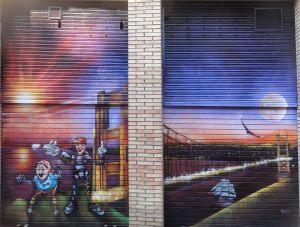 Mural-sobre-persiana-Golden-Gate