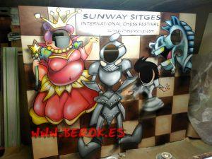 mural caras sunway sitges hotel ajedrez