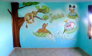murales infantiles mickey dumbo bambi Rey Leon