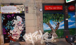 graffitis en persianas de flor del olivo