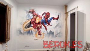 graffiti spiderman ironman habitacion juvenil