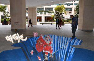 graffiti-3d-suelo-papanoel-navidad