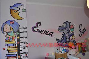 mural infantil luna dinosaurio