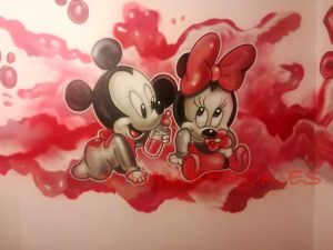 mural infantil mickey minnie