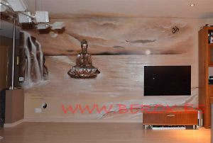 Mural buda sepia en comedor de Sitges