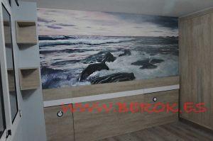 mural mar rocas pintura en Mollet del Valles