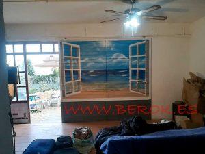 mural ventana playa trampantojo