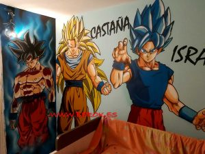 graffitis habitacion dragon ball juvenil Goku
