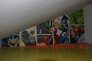 mural marvel comic graffiti buhardilla