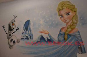 mural frozen Olaf graffitis