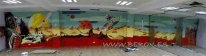 Graffiti retro espacio astronauta oficinas seocom