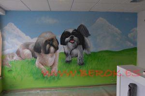 mural graffiti perros peluqueria canina la Senia