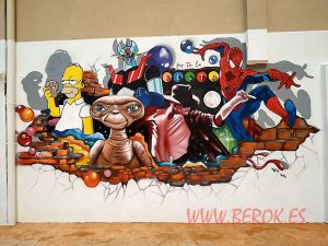 graffiti et michael jackson spiderman mazinger z homer simpson