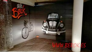 graffiti coche escarabajo parking