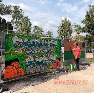 graffiti street arena tour Barcelona Spain basketball