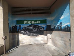 graffiti parking skyline barcelona