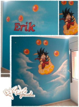graffiti goku dragon ball habitacion