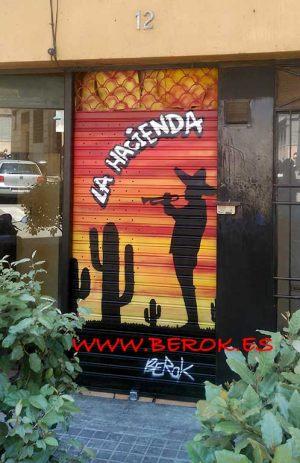 graffiti persiana restaurante mexicano