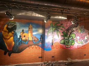 Graffiti Parrots con Iglesia de Sitges